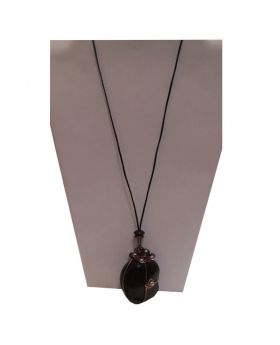 Lilibit Creation Necklace Elaborately Decorated Pendant from Jamaican Cocoon on Leather String - One of a Kind