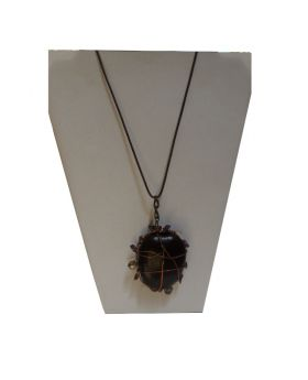 Lilibit Creation Necklace Elaborately Decorated Pendant Made from Jamaican Cocoon on Leather String