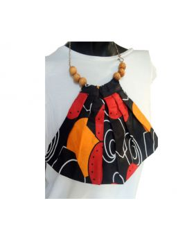 Lilibit Creation Necklace Fabric Bib Design with Wood Beads and Metal Chain, One of a kind