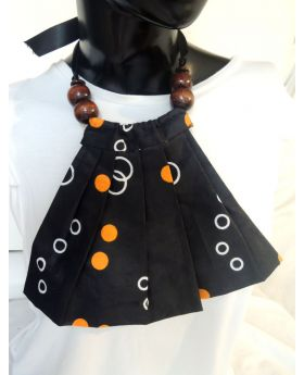 Lilibit Creation Necklace Fabric Bib Design with Wood Beads and Ribbon Tie, One of a kind