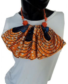 Lilibit Creation Necklace Fabric Bib Design with Wood Beads, One of a kind