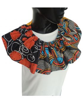 Lilibit Creation Necklace Fabric Design, Full Cloth with Orange Ribbon String Tie, One of a kind