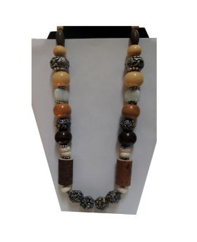 Lilibit Creation Necklace Fabulous Mix of Unusual Wood, Meta, African, and Natural Stone Beads - One of a Kind