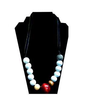 Lilibit Creation Necklace Large White Wood Beads with Black Ribbon - One of a Kind