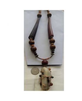 Lilibit Creation Necklace Long Designer Tubes, Wood and Metal Beads with Sea-Washed Stone as Pendant - One of a Kind