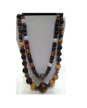 Lilibit Creation Necklace Long Double String Necklace in Wood, Multi-Size, Multi-Colored Beads - One of a Kind