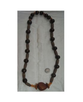 Lilibit Creation Necklace Long Wood Beads with Designed Wood-Look Tube Beads with Large Orange Central