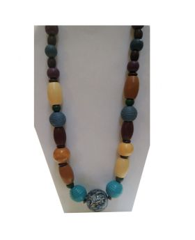 Lilibit Creation Necklace Medium Length, Blue Tone Mostly Wood Beads - One of a Kind