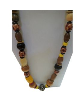 Lilibit Creation Necklace Medium Length, Yellow Tone Wood Beads, Mix Design - One of a Kind