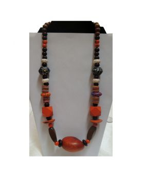Lilibit Creation Necklace Mix Wood Design with African Beads, Orange in Tone