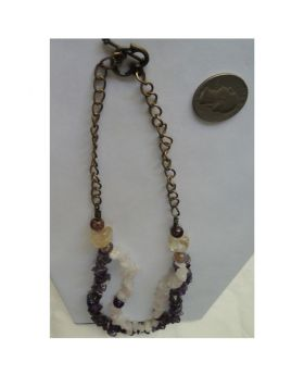 Lilibit Creation Necklace Natural Stones, Double String, Rose Quartz and Amethyst Stone Chips - One of a Kind