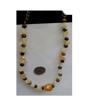 Lilibit Creation Necklace Natural Stones with Cat Eyes and Citrine Beads Interspersed - One of a Kind