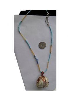 Lilibit Creation Necklace Pendant from Sea Stone Decorated with Copper and Strung with Glass Beads in Blue and Natural Color - One of a Kind