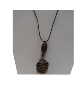 Lilibit Creation Necklace Pendant from Stone Decorated with Copper and Green - One of a Kind