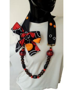 Lilibit Creation Necklace Visually Outstanding, Long, Mix of Wood and Fabric Accented with Bow - One of a kind