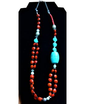 Lilibit Creation Necklace with Jamaican Red Dreadnut Beads and Mixed Natural Stones