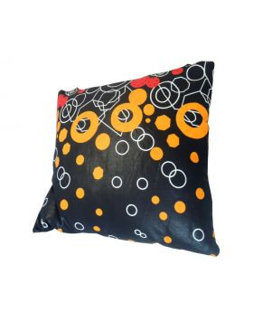 Lilibit Creations Craft Cushions – Black Background with Bold Colors and Pattern, Cotton Fabric, Mixed Fabric Back Panel,  Will Add Interest to Your Living Space