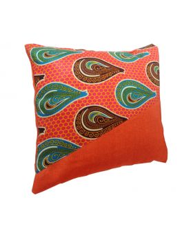 Lilibit Creations Craft Cushions – Bright Orange, Blend of Colors and Pattern, Cotton Fabric Mixed with Cotton-burlap, Interesting Combination for your Living Space