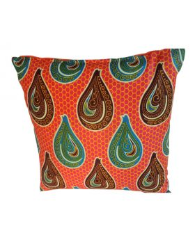 Lilibit Creations Craft Cushions – bright orange, blend of colors and pattern, cotton fabric mixed with cotton-burlap, plain back panel,  interesting combination for your living space
