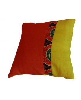 Lilibit Creations Craft Cushions – Bright Orange-Yellow, Blend of Colors, Cotton-Burlap Fabric, Plain Yellow Back Panel, Interesting Combination for Your Living Space