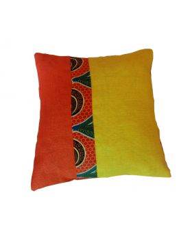 Lilibit Creations Craft Cushions – Bright Yellow-Orange, Blend of Colors, Cotton-Burlap Fabric, Plain Orange Back Panel,  Interesting Combination for Your Living Space