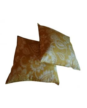 Lilibit Creations Craft Cushions – Double Cushions, Gold Tone, Patterned in White, Upholstery Linen fabric, will add Tailored Look to Your Living Space