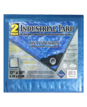 Lona Industrial Blue 12 Ft. x 16 Ft. Industrial Tarp 2 Pack