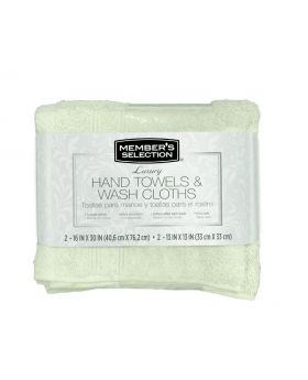 Member's Selection Hand Towels and Wash Cloths in Green 4 Pack