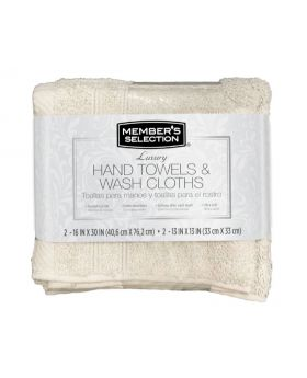 Member's Selection Hand Towels and Wash Cloths in Grey 4 Pack Set