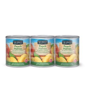 Member's Selection Peach Halves in Heavy Syrup 16.9 Oz. 3 Pack