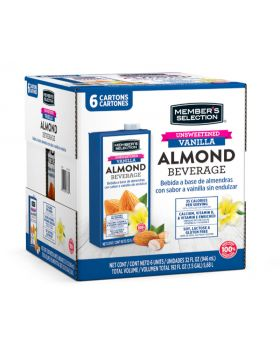 Member's Selection Unsweetened Vanilla Almond Beverage 6 x 946ml