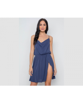 Navy solid cami cowl neck side slit mini dress-id.cc37618