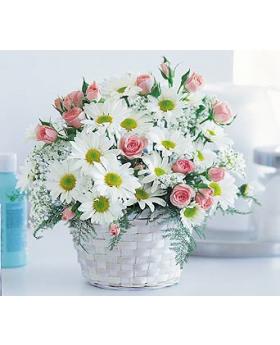 New Baby Girl Basket Floral Arrangement
