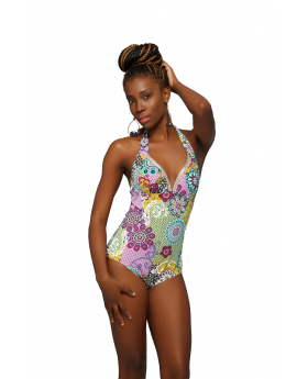 Front view of the One Piece Multi-Colored Swimwear