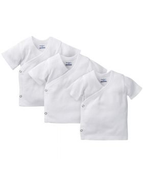 3-Pack White Side-Snap Short Sleeve Shirts 0-3M
