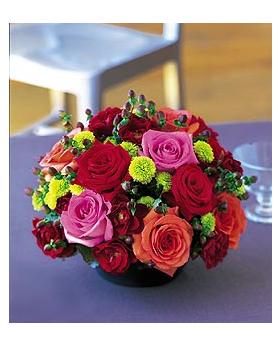 Orange, Pink and Red Roses Floral Arrangement