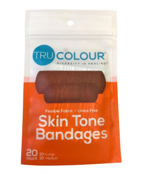 Tru Colour Skin Tone Adhesive Bandages 20 Pack - Orange Pack - Light Brown Complexion