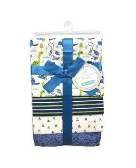 Petite L'amour 4-Pack Flannel Receiving Blankets - Little Dinosaur