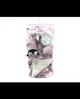 Petite L'amour Baby Soft Plush Blanket Neck Pillow - Pink Penguin