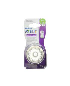 Philips Avent Natural Baby Bottle Nipple, Slow Flow Nipple 1M+, 2 Pack