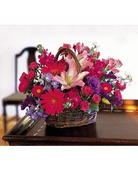 Pink and Lavender Basket Floral Arrangement