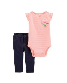 Pink Stripe Rainbow Angel-Sleeve Bodysuit & Black Leggings - Infant