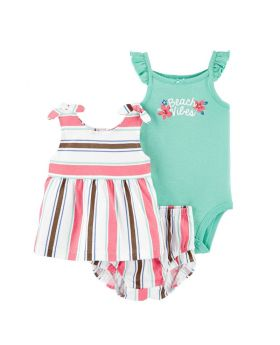 Pink & Turquoise 'Beach Vibes' Babydoll Dress Set - Infant