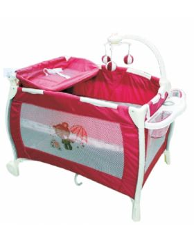 Playpen W' Changing Station And Mobile- Pink