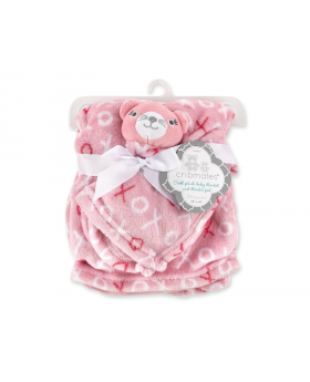 Cribmates Plush Blanket With Blankie Pal- Hugs and Kisses