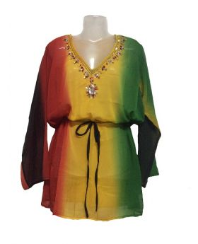 Polyester Georgette Cover Up Rasta