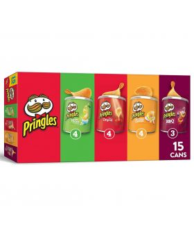 Pringles Potato Crisps Chips, Flavored Variety Pack, 20.6oz (15 Cans)