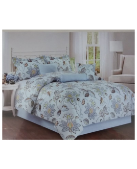 Private Collection 7 Pieces King Comforter Set Printed- Blue