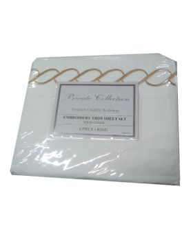 Private Collection Premier Quality Bedding Embroidery Trim Sheet Set Solid Color 4 Piece King