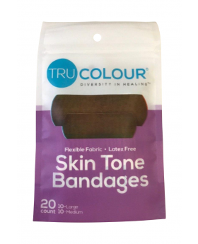 Tru Colour Skin Tone Adhesive Bandages 20 Pack - Purple Pack - Dark Brown Complexion